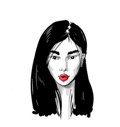 hand drawn portrait an asian girl with red lips vector image