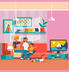 Happy family watching tv flat vector