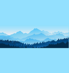horizontal banners hills coniferous wood vector image