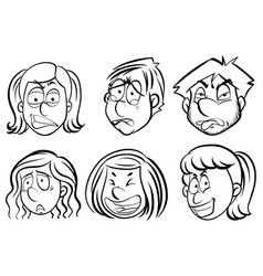 human faces with facial expressions vector image
