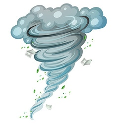 Hurricane spinning around with leaves and books vector image
