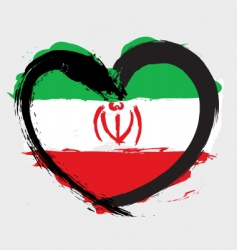 Iran heart shape flag vector