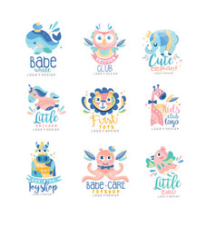 Kids club and toyshop logo design set emblems vector