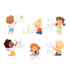 Kids drawing children artists educational funny vector