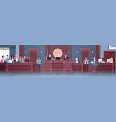 law process with judge jury suspect and police vector image