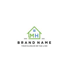 Letter mh home logo design vector