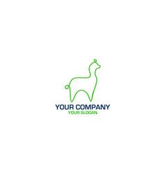 Llama monoline logo design vector