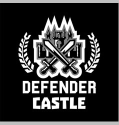 Logo defender castle fortress tower cross vector