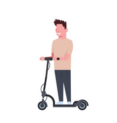 man riding electric kick scooter over white vector image