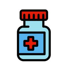 medical capsule jar color simple icon vector image
