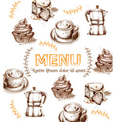 menu card template drinks and cakes fresh vector image