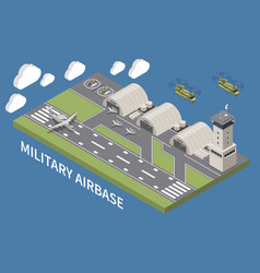 Military air force base isometric vector