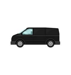 Mini-bus for passengers black van transport for vector
