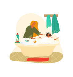 mother bathing bagirl in foam shampoo bathroom vector image