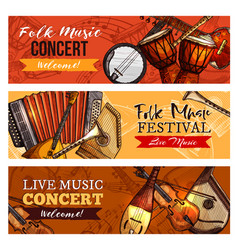 Music concert or festival banners set vector