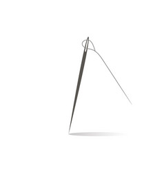 Needle with thread on white background flat style vector