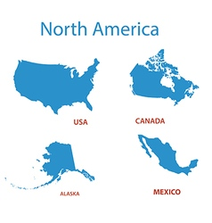 North america - maps of territories vector