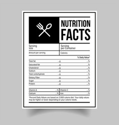 nutrition facts food label sticker vector image