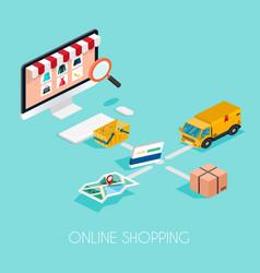 Online shopping isometric e-commerce electronic vector