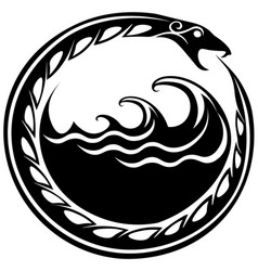 Ouroboros serpent curled up around sea waves vector