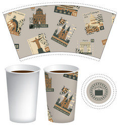 paper cup for hot drink with postage stamps vector image
