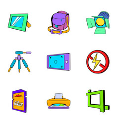 Photo icons set cartoon style vector