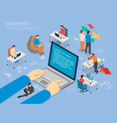 Programming development poster with code in laptop vector