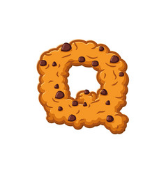 Q letter cookies cookie font oatmeal biscuit vector