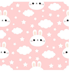 rabbit bunny hare face cloud in sky seamless vector image
