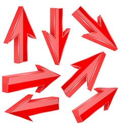 red 3d arrows set of shiny straight signs vector image