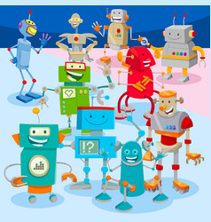 Robots and droids cartoon characters group vector