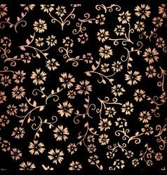 rose gold foil flower seamless pattern vector image