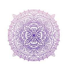 round violet gradient mandala isolated on white vector image