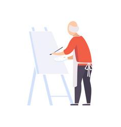 Senior man character painting on canvas elderly vector
