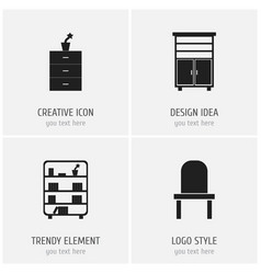 Set of 4 editable furnishings icons includes vector