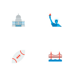 set of america icons flat style symbols with rugby vector image