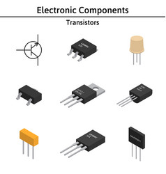 set of izometric electronic components vector image