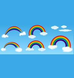 set realistic rainbow or rainbow with blue sky vector image