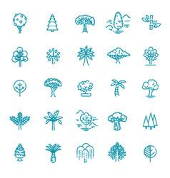 set tree shape line icons vector image