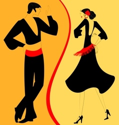 Silhouette couple of flamenco dancer vector