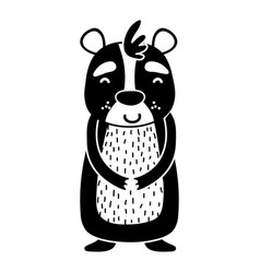 Silhouette cute and happy bear wild animal vector