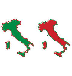 simplified map of italy outline fill and stroke vector image