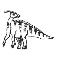 Sketch dinosaur iguanodon vector