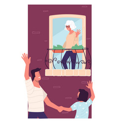 son and grandson vising grandmother at home vector image