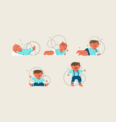 Stages of a baby boy vector