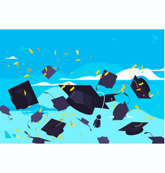 Student graduation hats flying in air vector