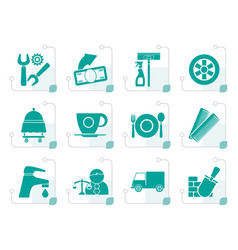 stylized services and business icons vector image