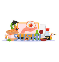 sushi flat colored background vector image