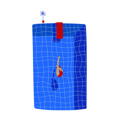 Swimming pool with jumping woman vector