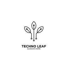 Techno leaf monoline logo design template vector